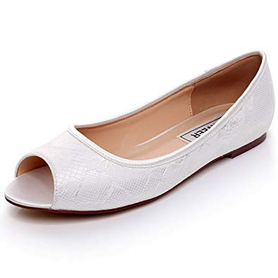 Amazon.com | LUXVEER Ivory Lace Flat Shoes Wedding Flats Peep Toe