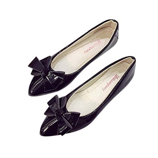 Amazon.com: BeautyVanu2014u2014 Bow Pointed Toe Women Flats Woman Flat Shoes