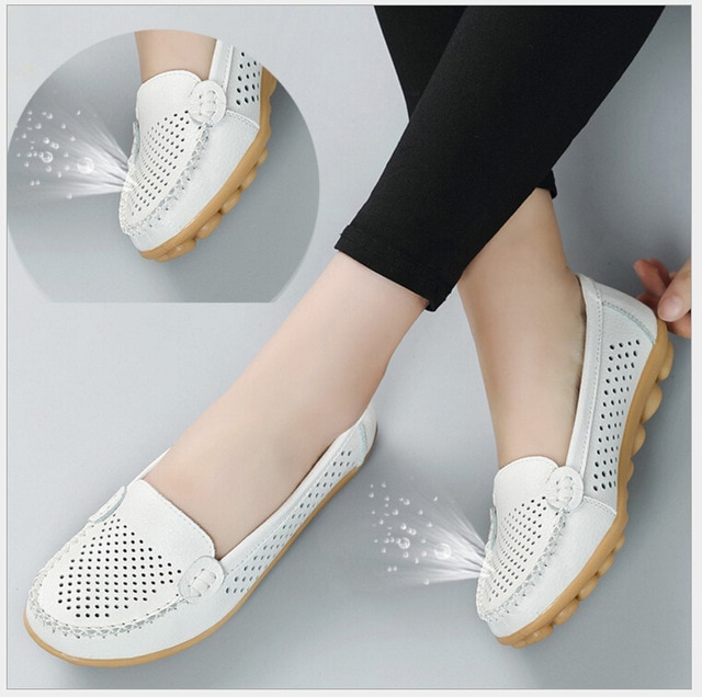 2018 Spring summer Genuine leather women flats shoes female casual