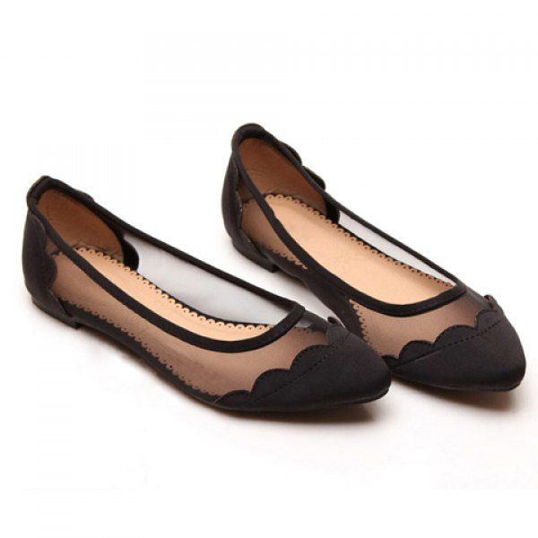 Sexy Casual Splicing and Gauze Design Women's Flat Shoes, BLACK, 39