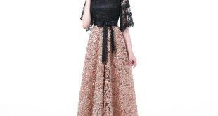 YIDINGZS New Evening Dress Black With Khaki Color Lace Floor length