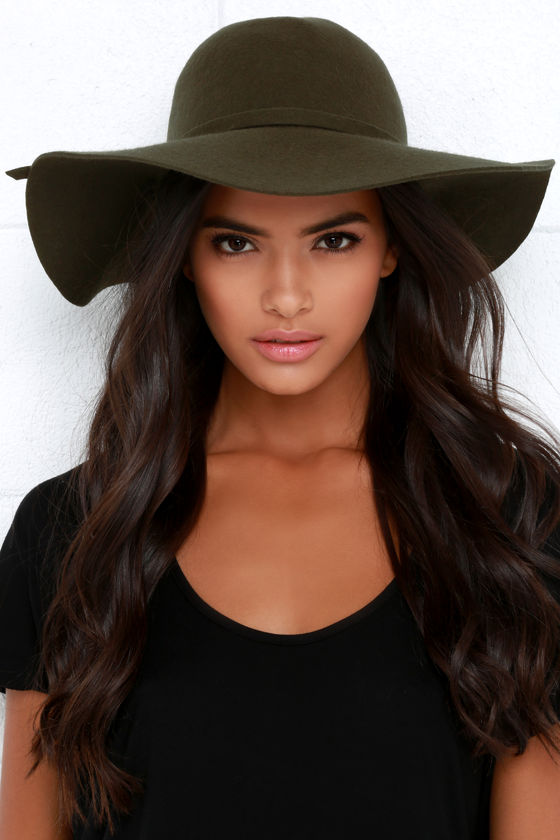 Olive Green Hat - Wool Hat - Floppy Hat - $27.00