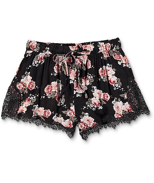 Trillium Demia Floral Crochet Shorts | Zumiez