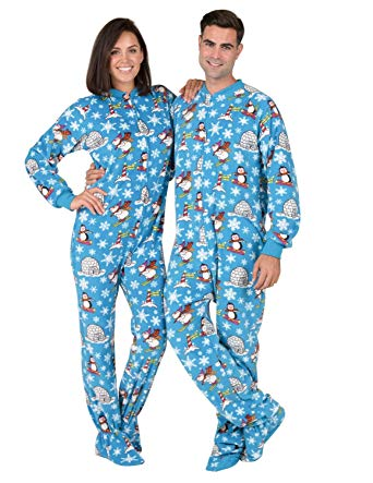 Amazon.com: Footed Pajamas - Winter Wonderland Adult Fleece Onesie
