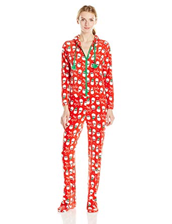Amazon.com: PJ Couture Women's Ugly Christmas Footed Pajama, Red