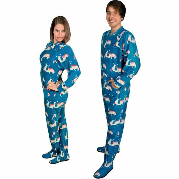 Footie Pajamas for Adults with Butt Flap Italian Scooter Fleece