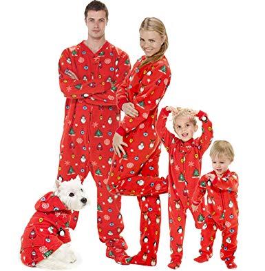 Amazon.com: Footed Pajamas - Family Matching Red Christmas Onesies