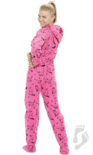 Sleek Kitty Hoodie One Piece - Adult Hooded Footed Pajamas | One