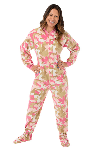 Pink Camouflage Micro-Polar Fleece Adult Footed Pajamas: Big Feet