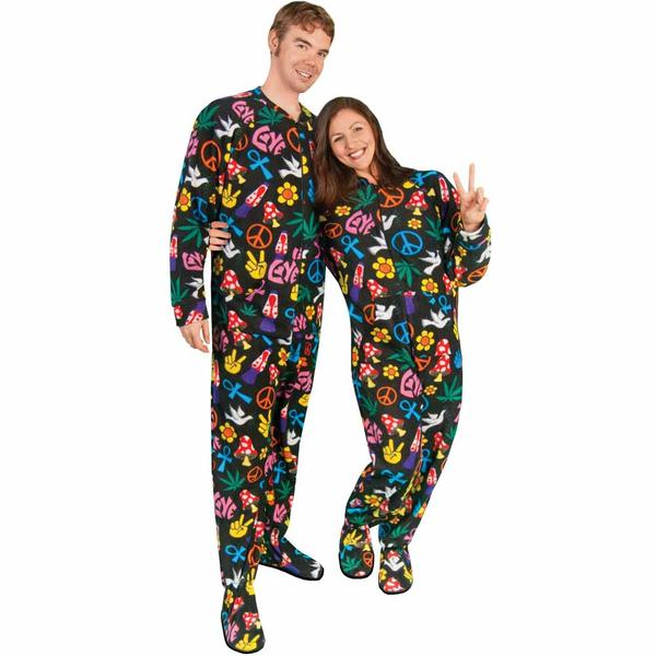 Peace Sign Fleece Adult Footed Pajamas with Drop Seat - *Limited