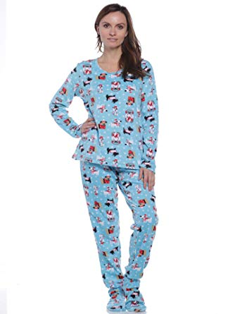 Pillow Talk Women's Fleece Footed Pajamas at Amazon Women's Clothing