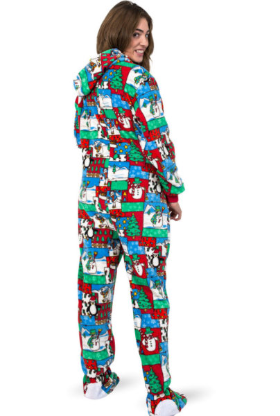 Winter Fun Christmas Adult Footed Pajamas with Hood: Big Feet Onesie