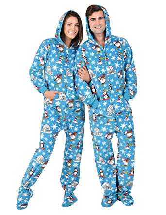 Amazon.com: Footed Pajamas - Winter Wonderland Adult Hoodie Fleece