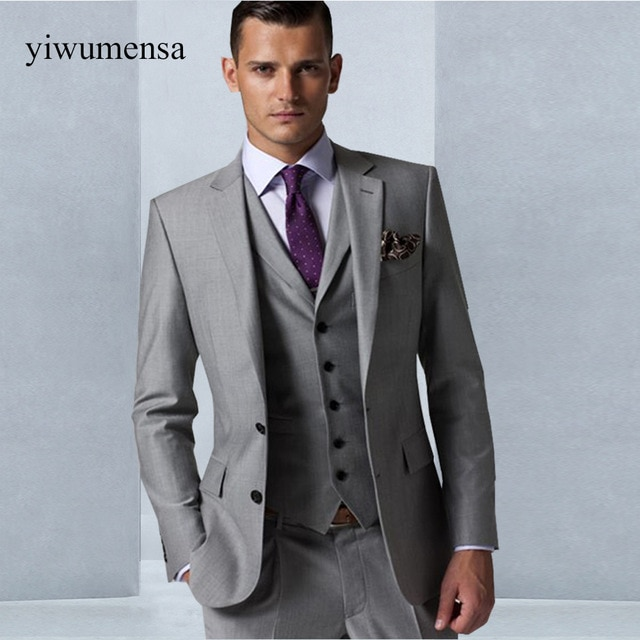 Custom Made Gray men wedding dress 2018 Tuxedo Groom Formal Suit