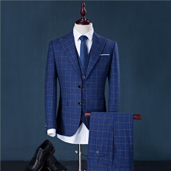 Fashion (jacket+pants+vest) Men Suits Man Business Formal Suit With