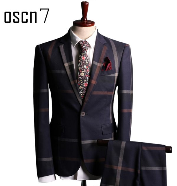 OSCN7 Navy Blue Slim Fit Plaid Suit Men Notch Lapel Business Formal
