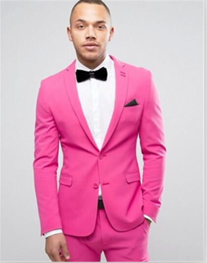 Latest Coat Pant Designs Hot Pink Formal Suit Men Slim Fit Prom