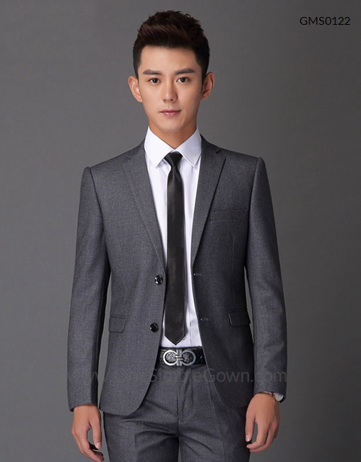 Men's Gray 2 pcs Formal Wear Blazer and Pant - OneSimpleGown.com
