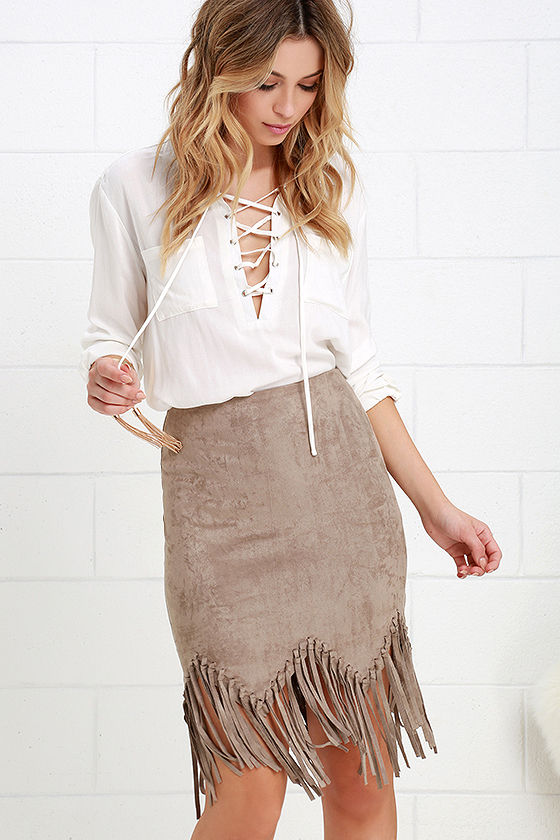 Fun Taupe Skirt - Suede Skirt - Fringe Skirt - High-Waisted Skirt