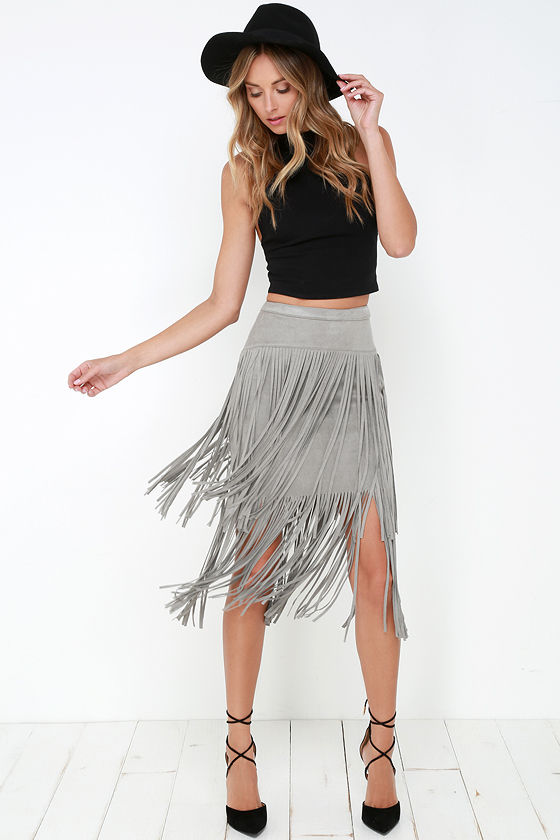 Grey Skirt - Fringe Skirt - High-Waisted Skirt - $46.00