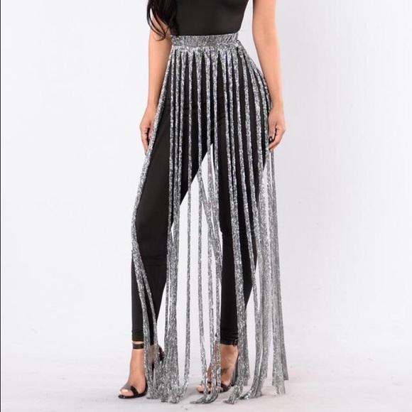 Skirts | Silver Fringe Skirt | Poshmark