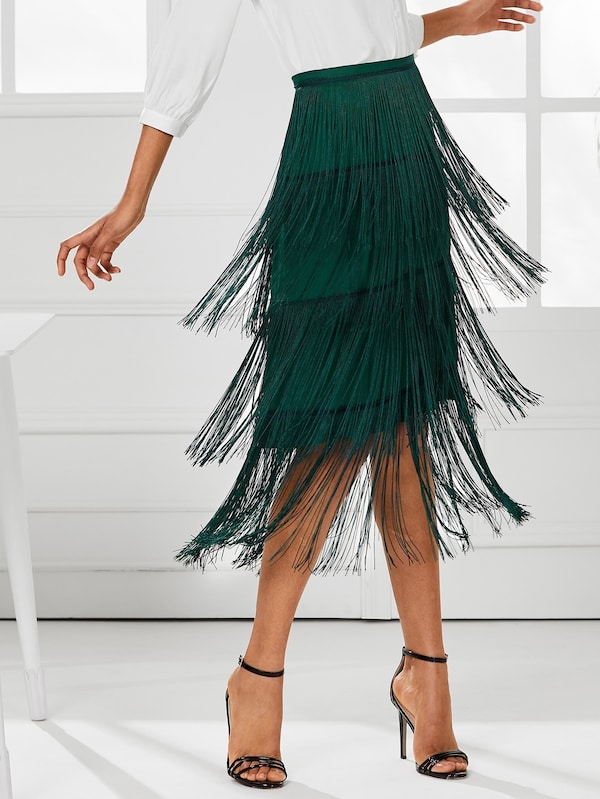 Tiered Fringe Skirt | SHEIN