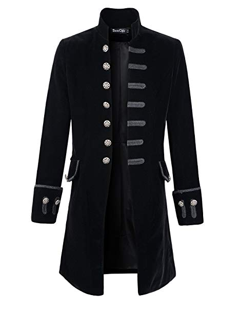 DarcChic Mens Velvet Goth Steampunk Victorian Frock Coat at Amazon