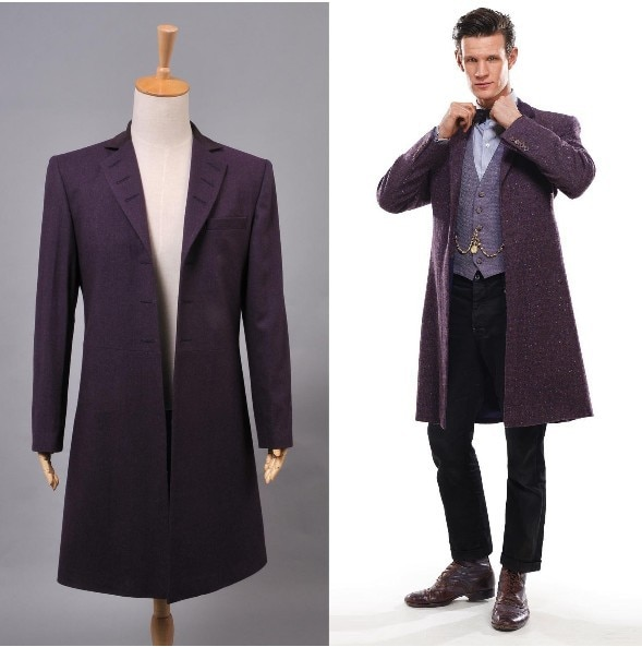 New Arrival Who is Doctor Eleventh 11th Dr. Purple Wool Frock Coat