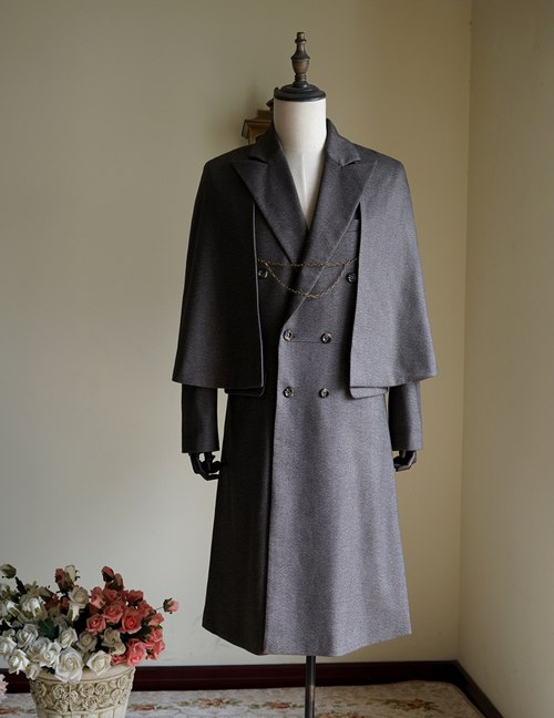 Vintage Mens Coat Worsted Wool Coat Frock Coat Inverness Coat Cape