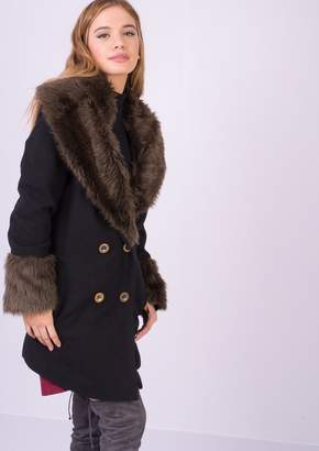 Black Faux Fur Collar Coat - ShopStyle UK