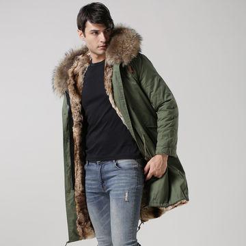 2016 men fur coat with real fur collar and faux fur lining   Global
