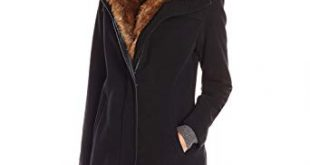 Amazon.com: Lark & Ro Women's Faux Fur Collar Coat, Black, Small