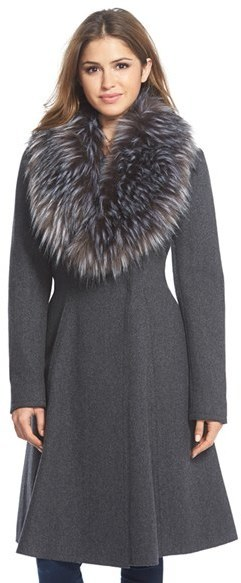 Vera Wang Serena Faux Fur Collar Wool Blend Fit Flare Coat, $498