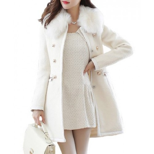 Slim Fit Faux Fur Collar Long Sleeve Double-Breasted Coat For Women
