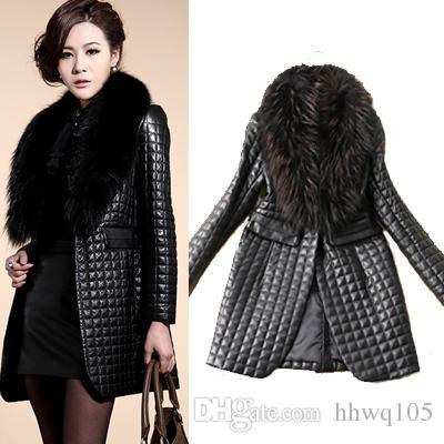 Women'S Slim Fit Faux Fur Collar Coat Outwear Black Long Sleeve Faux