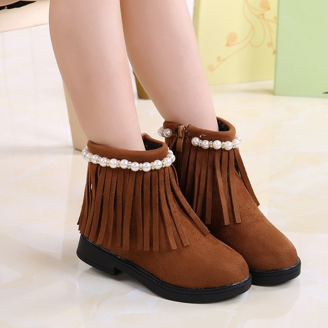 Autumn Winter Baby Girl Boots Children Kids Shoes Leather Fringe Mid