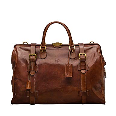 Amazon.com | Maxwell Scott Large Tan Leather Gladstone Bag (GassanoL