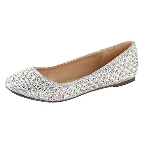 Amazon.com | Summitfashions Womens Silver Glitter Flats Rhinestone