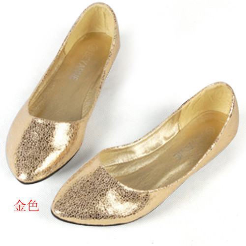 Hot 2014 Spring&Summer Pointed Toe Black Ballet Flats Glitter Pu