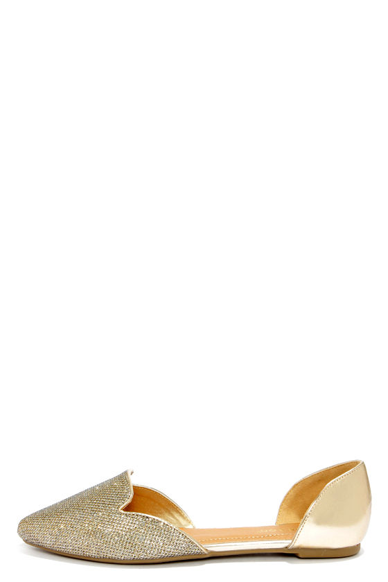 Cute Gold Flats - D'Orsay Shoes - Pointed Flats - $23.00