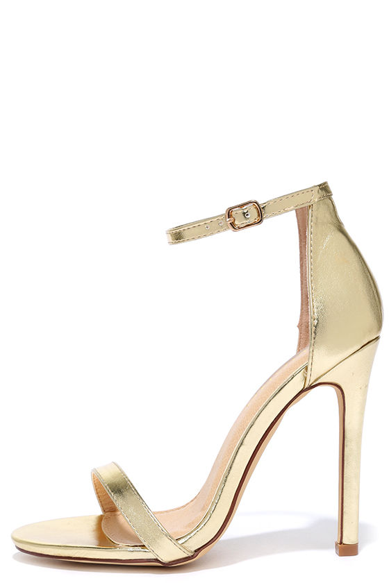 Sexy Gold Heels - High Heel Sandals - Metallic Single Sole Heels