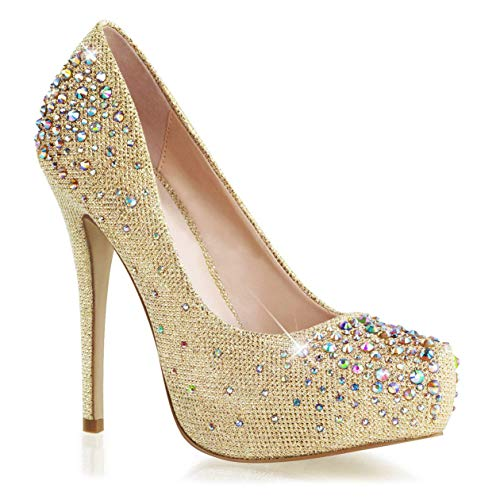 Amazon.com | Summitfashions Womens Stunning Gold Glitter Pumps 6