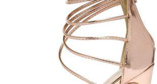 High Heels - Rose Gold Sandals - Metallic Heels - $37.00