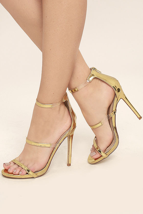 Chic Gold Heels - Nubuck Heels - High Heel Sandals - Lucite Heels
