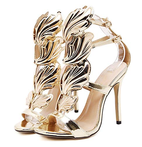 Amazon.com | 2017 New Women Pump Sexy Gold Leaf Flame Wings Buckle
