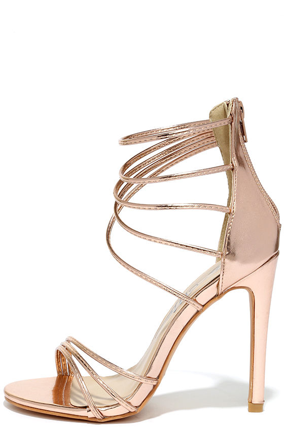 High Heels - Rose Gold Sandals - Metallic Heels - $37.00