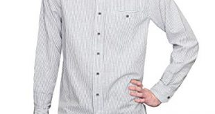 Lee Valley Men's Irish Collarless Linen Grandad Shirt LN8 Navy/White