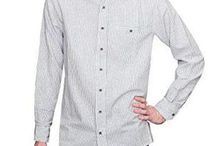 Lee Valley Men's Irish Collarless Linen Grandad Shirt LN8 Navy/White