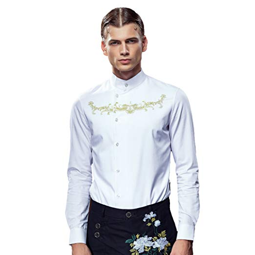 FANZHUAN Grandad Shirt for Men White Long Sleeve Slim Fit Embroidery