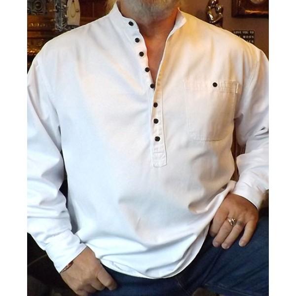Woven Cotton Half button Grandad Shirt